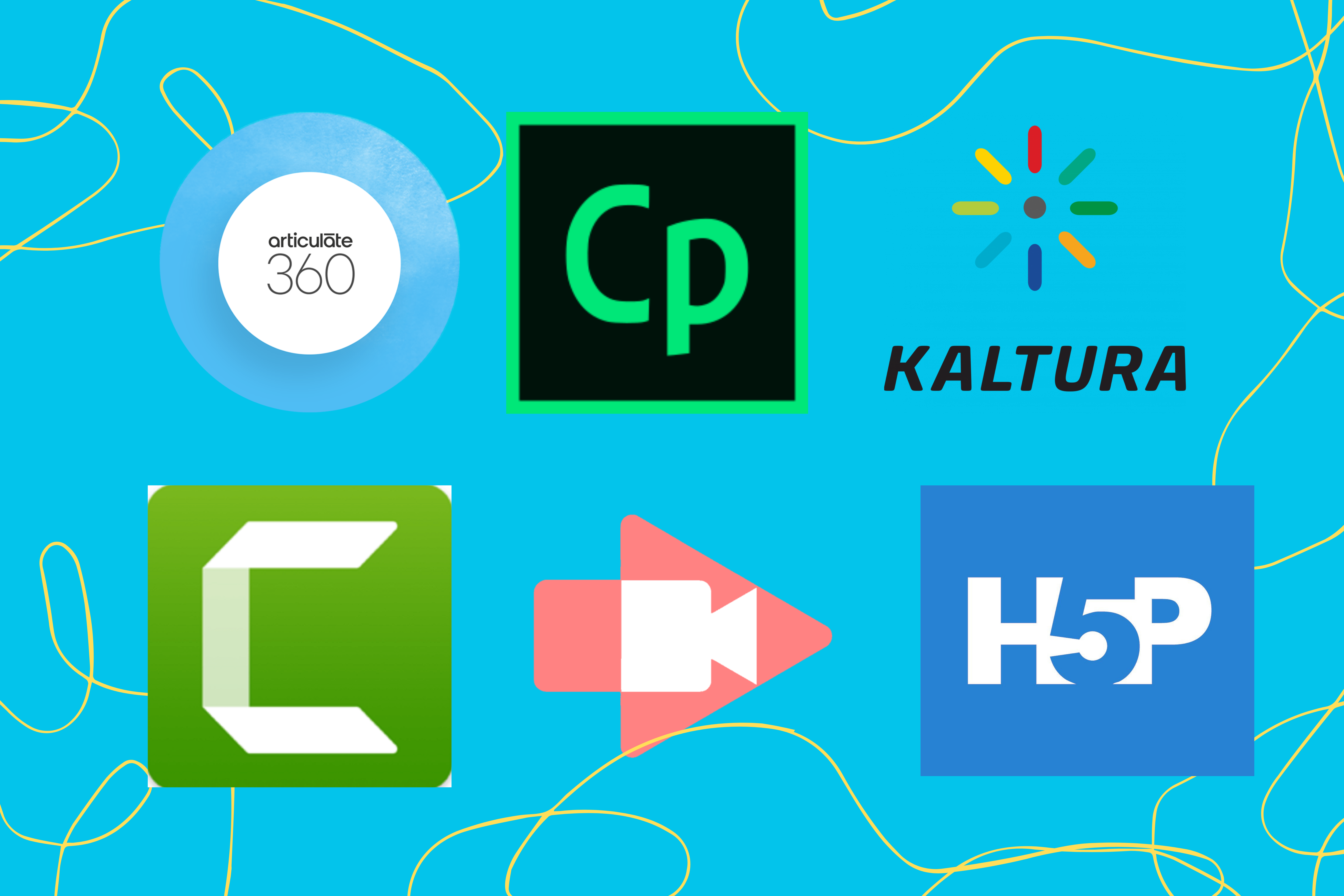 Slide showing the logos of six companies: Articulate 260, Adobe Captivate, Kaltura, Camtasia, Screencastify, and H5P